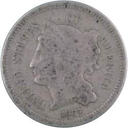 1867 Three Cent Piece Ag About Good Nickel 3c Us Type Coin Collectible
