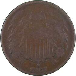 1867 Two Cent Piece Ag About Good Bronze 2c Us Type Coin Collectible