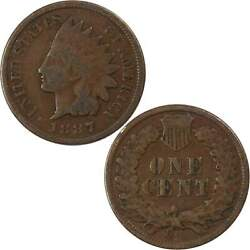 1887 Indian Head Cent Ag About Good Bronze Penny 1c Coin Collectible