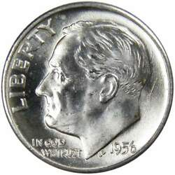 1956 D Roosevelt Dime Bu Uncirculated Mint State 90 Silver 10c Us Coin