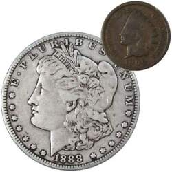 1888 Morgan Dollar F Fine 90 Silver Coin With 1900 Indian Head Cent G Good