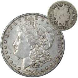 1879 O Morgan Dollar Xf Ef Extremely Fine With 1913 Barber Dime G Good