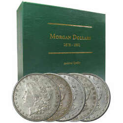 1878-1889 Morgan Dollar 5 Coin Set Xf Ef Extremely Fine 90 Silver 1 With Album