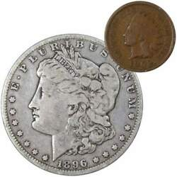 1896 O Morgan Dollar F Fine 90 Silver Coin With 1902 Indian Head Cent G Good