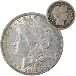 1896 Morgan Dollar Xf Ef Extremely Fine 90 Silver With 1913 Barber Dime G Good