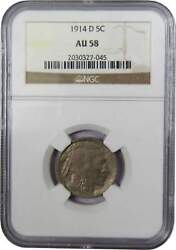 1914 D Indian Head Buffalo Nickel 5 Cent Piece Au 58 Ngc 5c Us Coin Collectible