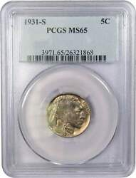 1931 S Indian Head Buffalo Nickel 5 Cent Piece Ms 65 Pcgs 5c Us Coin Collectible