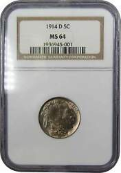 1914 D Indian Head Buffalo Nickel 5 Cent Piece Ms 64 Ngc 5c Us Coin Collectible