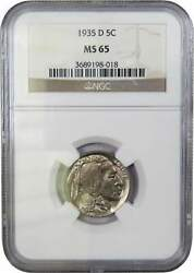 1935 D Indian Head Buffalo Nickel 5 Cent Piece Ms 65 Ngc 5c Us Coin Collectible