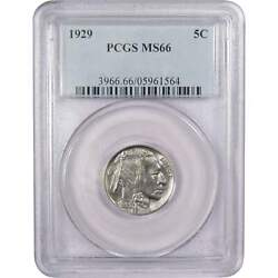 1929 Indian Head Buffalo Nickel 5 Cent Piece Ms 66 Pcgs 5c Us Coin Collectible