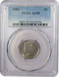 1886 Liberty Head V Nickel 5 Cent Piece Au 55 Pcgs 5c Us Coin Collectible