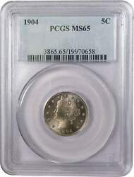 1904 Liberty Head V Nickel 5 Cent Piece Ms 65 Pcgs 5c Us Coin Collectible