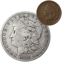 1879 O Morgan Dollar F Fine 90 Silver Coin With 1902 Indian Head Cent G Good