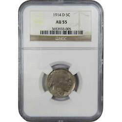 1914 D Indian Head Buffalo Nickel 5 Cent Piece Au 55 Ngc 5c Us Coin Collectible