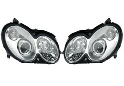 Pair Set Of 2 Front Xenon Curve Lights Headlights Hella For Benz C209 Clk-class
