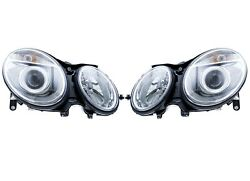 Set of 2 Front Bi-Xenon Headlights Lamps Assies Hella For MB S211 W211 E-Class