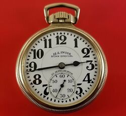 Vintage Illinois Pocket Watch Bunn Special 161 60 Hour On Dial And Movement 21 J