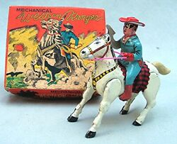 Vintage Tin Wind-up Western Ranger - Excellent In The Box - Lone Ranger Rip-off