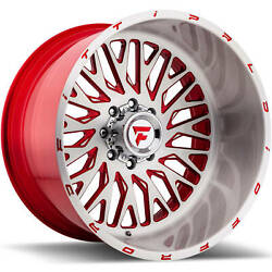 4 - 22x12 Brushed Red Wheel Fittipaldi Offroad FTF07 8x6.5 -51
