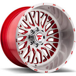 4 - 22x14 Brushed Red Wheel Fittipaldi Offroad FTF07 8x6.5 -76