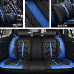 Black+Blue Luxury Leather Full Surround Car Seat Cover Cushion For 5-seat Car