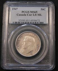 1947 Maple Leaf Pcgs Ms65 Canada Silver 50 Cent. Registry Set Pq Coin.