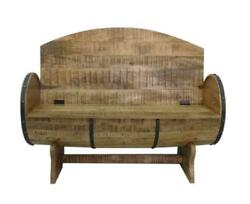 Rustic Handcrafted Barrel Bench Re-purposed - Solid Wood - Storage