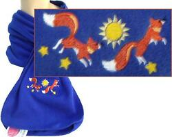 Red Foxes Leaping Sunshine Stars Monogram Scarf Warm Blue Fleece Celestial Gift