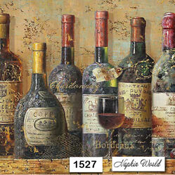1527 Two Individual Paper Luncheon Decoupage Napkins - Wine Bottles Vintage
