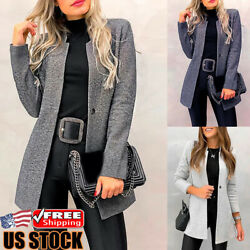 Women Casual Slim Blazer Suit Coat Jacket Ladies Long Sleeve Cardigan Outwear