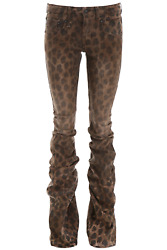 NEW R13 shirring boy boot jeans R13W7169 Leopard AUTHENTIC NWT