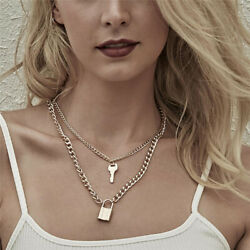 Punk Goth Double Layer Long Chain Lock Key Pendant Choker Necklace Jewelry Gift $2.99