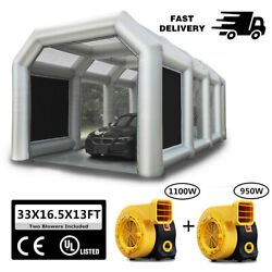 33x16.5x13ft Truck Spray Booth Inflatable Tent Car Paint Booth With 2 Blowers Ul