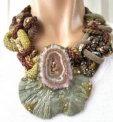 Alex And Lee 1970and039s Rare Agate One Of A Kind Artisan Necklace