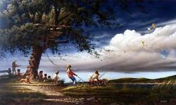Terry Redlin Spring Fever S/n Kids Playing With Kites Art Print-32 X 18.5