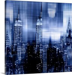 Nyc - Reflections In Blue Ii Canvas Wall Art Print Home Decor