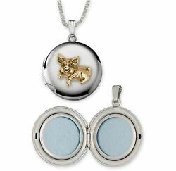 Pig Jewelry Silver And 14k Gold Handmade Pig Photo Locket P1-tnd