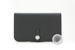 New Hermes Dogon Compact Black / Ck89 Togo Long Wallet Phw Authentic Nwt