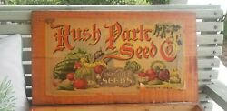 Antique Wooden Seed Box Rush Park Seeds Independence Iowa - Advertising Store