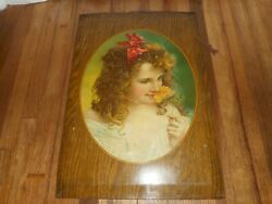 Antique Purity Victorian Girl Stock Photo Tin Litho Cardboard Advertising Sign
