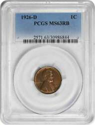1926-d Lincoln Cent Ms63rb Pcgs