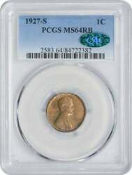1927-s Lincoln Cent, Ms64rb, Pcgs Cac