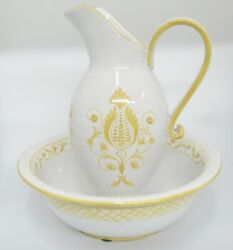 Vintage Italian Pottery Pitcher And Bowl Basin Wash Set White Yellow Huge 13.5
