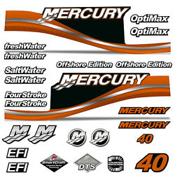 Mercury 40 Four 4 Stroke Decal Kit Outboard Engine Graphic Motor Stickers Orange