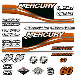 Mercury 60 Four 4 Stroke Decal Kit Outboard Engine Graphic Motor Stickers Orange