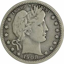 1908-s Barber Silver Quarter Choice F Uncertified