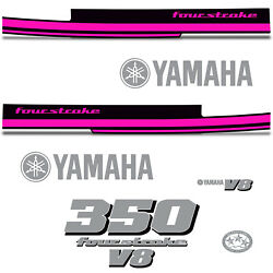 Yamaha 350 Four Stroke Die Cut Decals Outboard Engine Graphics Motor 350hp Pink