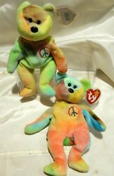 RARE 2 lot PEACE 'ORIGIINAL' XTRA STICKER TAGs ERRORS TY Beanie Babies retired