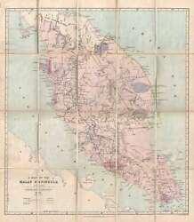 1913 Stanford Map Of The Malay Peninsula With Manuscript Tin Region