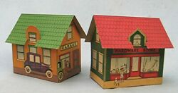 Vintage Set Of Paper Toy Buildings With Box Lid -- Ready-cut-village